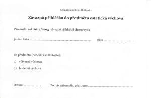 Přihláška do volitelného předmětu